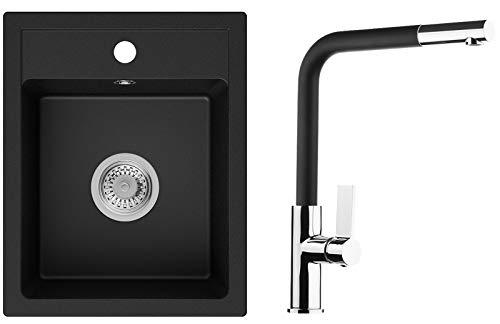 Einbauspüle Schwarz 40 x 50 cm, Spülbecken + Wasserhahn Küche + Siphon, Granitspüle ab 40er Unterschrank in 5 Farben mit Armatur Varianten, Küchenspüle von Primagran