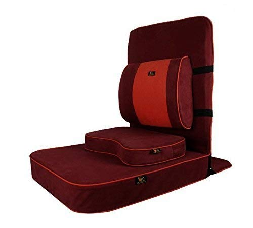 Friends of Meditation Extra Large Relaxing Meditation and Yoga Chair with Back Support and Meditation Block (Maroon, Pack of 1)