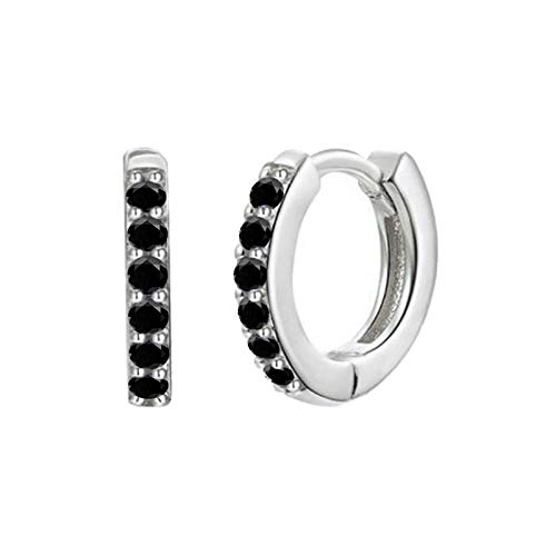 Pendientes Mujer Pendientes De Aro De Circonita De Cristal Verde Negro De Plata De Ley 925 Pendientes De Plata Dorada para Mujer-Silver_Black