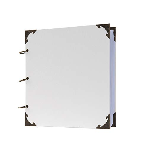 10 x 10 Inch Leather Hardcover 80 Pages DIY Scrapbook Photo Album Blank Craft Paper Wedding Anniversary Family Photo Scrapbook Album (White, 10 x 10 Inch)