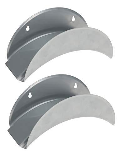 2x Gartenschlauchhalter aus Metall 29x13 cm - Für eine Schlauchlänge von bis zu 25 Metern - Auch für Gartengeräte mit Kabel - Robust & stabil - Aufhängung mit Schrauben - Ordnung in Ihrer Gartenhütte