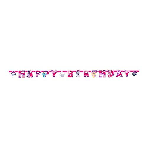 amscan- Letter Birthday Banner with My Little Pony Theme-1 Pc. Festone Happy 200 x 15 cm, Multicolore, 7AM9902514
