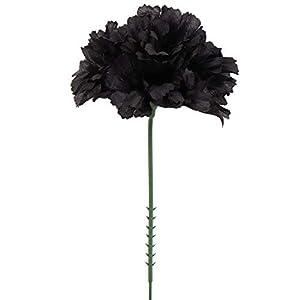 Larksilk Black Silk Carnation Picks, Artificial Flowers for Weddings, Decorations, DIY Decor, 100 Count Bulk, 3.5″ Carnation Heads with 5″ Stems