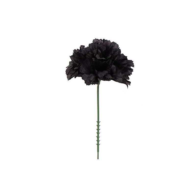 "silk flower arrangements larksilk black silk carnation picks, artificial flowers for weddings, decorations, diy decor, 100 count bulk, 3.5"" carnation heads with 5"" stems"