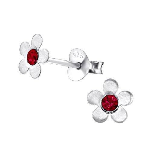 Katy Craig diseño de flores broche de plata de ley Juego de pendientes de tuerca lámpara de techo con cristales tintadas de color rojo piedras