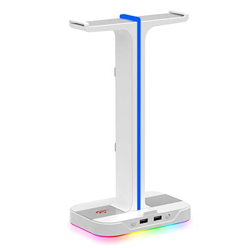 havit Porta Cuffie RGB Supporto per Doppio Cuffie Gamings con 2 caricatori USB, Supporto per Cuffie da Gioco con 7 modalità di Illuminazione, per PC Netbook Gamer,Bianca
