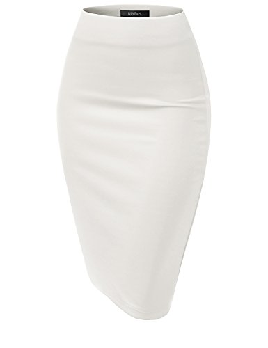 NINEXIS Womens Casual Elastic Waist Band Pencil Midi Skirt White S