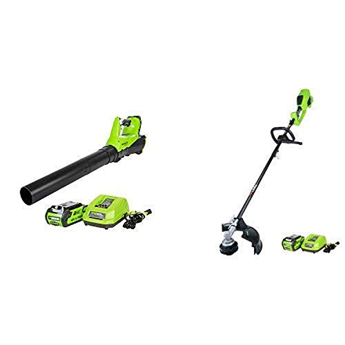 Greenworks 40V 115 MPH - 430 CFM Cordless Brushless Blower, 2.0 AH Battery Included BA40L210 with 14-Inch 40V Cordless String Trimmer (Attachment Capable), 4.0 AH Battery Included 21362