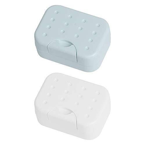 ITME 2 Piezas Caja de Jabón de Viaje Jabonera de Viaje Sellada, Caja de jabón, Viaje Soapbox Impermeable, Usado para Libre,El Hogar, Baño,Casa (Blanco y Azul)