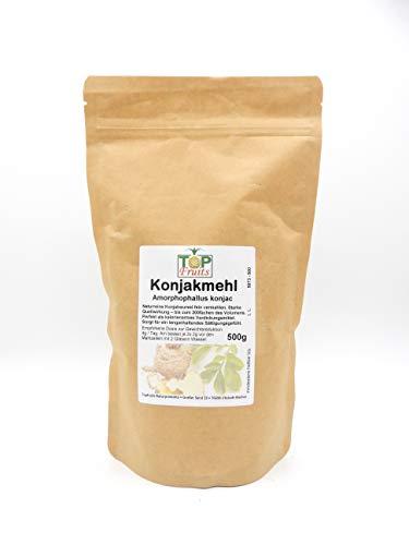 TOPFRUITS Konjakmehl 500g Glucomannan Pulver gemahlen - natürlicher Appetitzügler