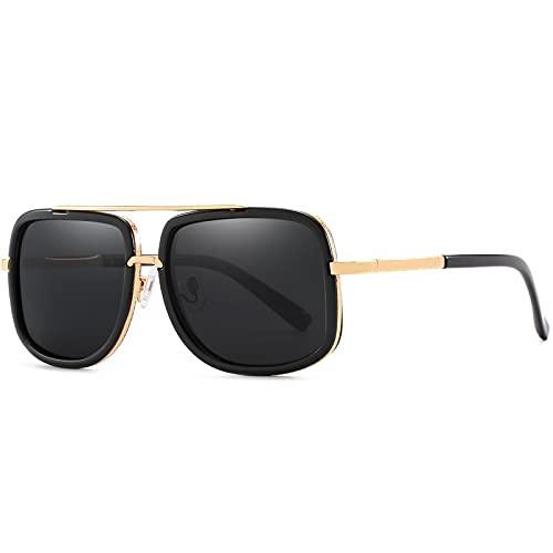 AMFG Gafas de sol personalizadas de moda retro gafas de sol polarizadas de espejo azul de doble haz de gafas (Color : E)