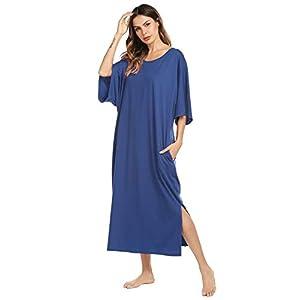 Ekouaer Nightgown, Womens Round Neck/V Neck Loungewear Oversized Pajama Loose Pockets Long...