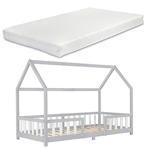Kinderbett mit Matratze und Rausfallschutz 90x200cm Hausbett mit Kaltschaummatratze Bettenhaus mit Lattenrost Kiefernholz Hellgrau/Weiß