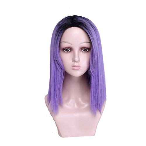 Xiang Ye Européenne et Femmes Rose Net Perruque Cap Tête Teinte Violet gradient Noir Perruque