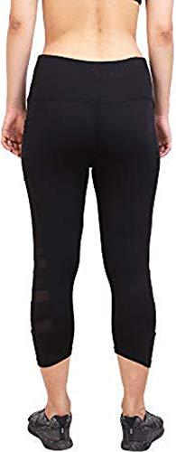 AREO Women's Power Flex Tummy Control Workout Side Mesh Net Skinny Yoga Capri Pants Leggings (L, Black)