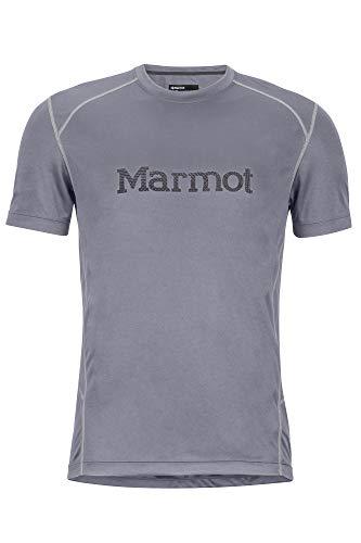 Marmot Windridge with Graphic SS T-Shirt Manche Courte, Chemise de randonnée, Idéal pour Le Sport, la Gym, séchage Rapide, Respirant Homme Steel Onyx FR: S (Taille Fabricant: S)