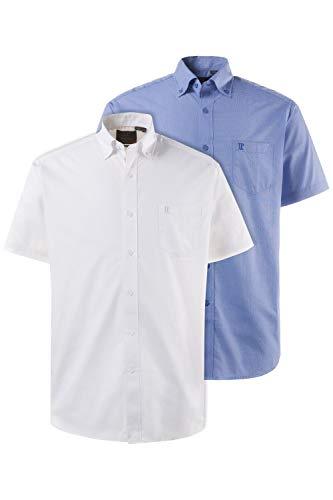 JP 1880 Homme Grandes Tailles Chemise Coton, Lot de 2, Manches Courtes Slim Bleu/Blanc 3XL 702864 71-3XL
