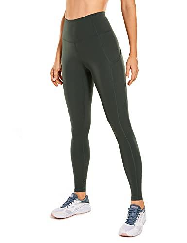 CRZ YOGA Mujer Mallas Deportivas Leggins Cintura Alta Fitness Pantalones con Bolsillos-71cm Verde Oliva 36