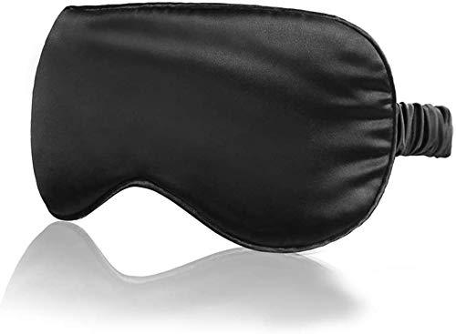 Máscara para dormir con correa elástica, ligera y cómoda seda suave como para hombres y mujeres que viajan (negro)