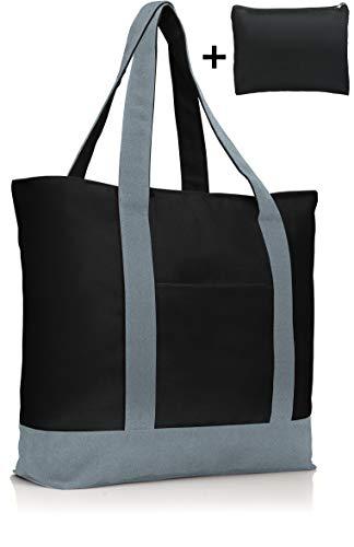 COTTARA Premium Baumwolltasche groß – hochwertige Tragetasche mit Reißverschluss und gratis Polyester Tasche – ideal als Einkaufstasche Badetasche Shopper – 40x15x38 cm (grau schwarz, 40x15x38 cm)