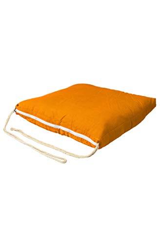 Sitzkissen Stuhlkissen mit Schleife 45cm Groß Eckig Orange | Outdoor im Garten als Stuhlauflage oder Indoor als Stuhl Kissen im Wohnzimmer oder Küche | Eckiges Bodenkissen aus Baumwolle 45 x 45 cm