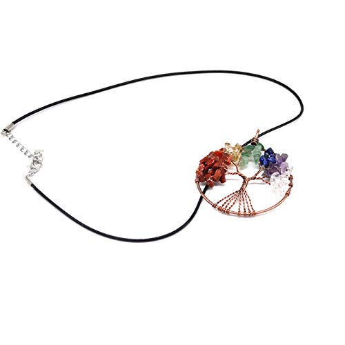 Crystals Stone 7 Chakras Tree of Life Necklace, Tree of Life Pendant Natural, For Women Family Best Friends Mothers Day Gifts Crystal Necklaces (Copper)