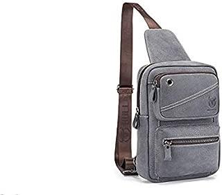 Men's Shoulder Bag, Popoti Sling Bag Leather Backpack Chest Bag Daypack Handbag Sports Bags Crossbody Outdoor Hiking Travel Messenger Bag (Color 1)
