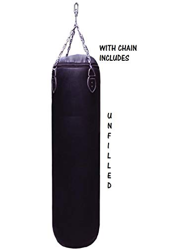 Woldorf USA Muay Thai Heavy Bag unfilled Punching Bag | Kicking Boxing Bag for Kids and Adults Best use in Gym or Home Comes with Chain 4 Feet size100lbs Black no Logo Plain
