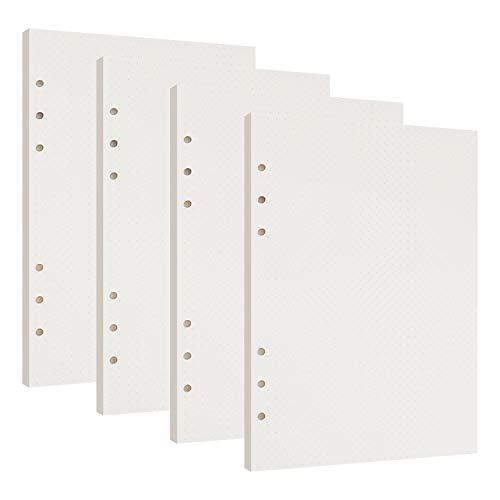 Confezioni di Ricarica di Carta 6 Fori Formato A5 Agenda ad Anelli Refill Paper per A5 Taccuino Diario, 4 Pacchi x 45 Fogli a Righe Pagine Bianche 21 x 14 cm