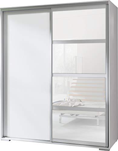 FurnitureByJDM - Moderne garderobekast 2 schuifdeuren - LEO - met spiegel. Breedte: 180cm Hoogte: 217cm Diepte: 66cm - (Wit)