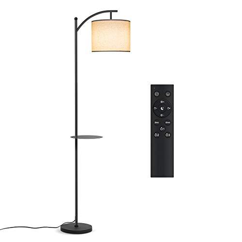 Tomons Stehlampe Wohnzimmer mit Fernbedienung Glühbirne, Stufenlos Dimmbar, Farbtemperatur Einstellbar, E27 LED, Hängender Stoff Lampenschirm, Abnehmbar Ablageplatte, Retro, für Schlafzimmer, Büro