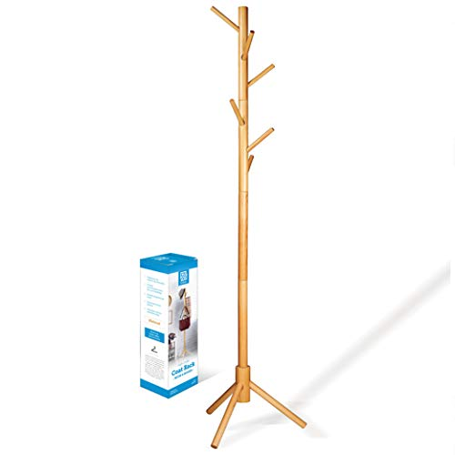 High-Grade Wooden Tree Coat Rack Stand, 6 Hooks - Super Easy Assembly NO Tools Required - 3 Adjustable Sizes Free Standing Coat Stand, Hallway Coat Hanger Hat Stand, for Handbag, Clothes & Accessories
