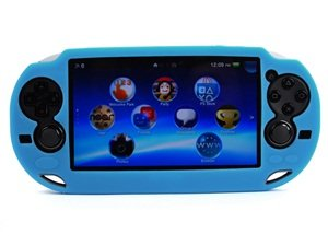 Case Star ® Hard Case/Cover plus 1 PCS of LCD Screen Protector for Playstation PS VITA (PCH-1000) (Silicone-Light Blue+ Clear LCD Screen Protector)