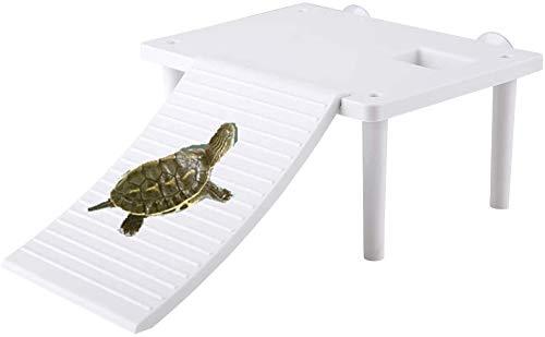 Hffheer Reptil Flotante Plantform Tortuga Rana Plataforma de baño Tortuga Plataforma Flotante con escaleras para Tomar el Sol para Mascotas Newt Tutle Frog