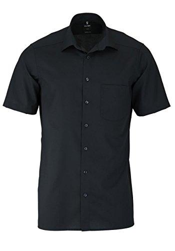 Olymp Luxor Herren Modern Fit Hemd, 0300/12/68, Halbarm, Schwarz, 41