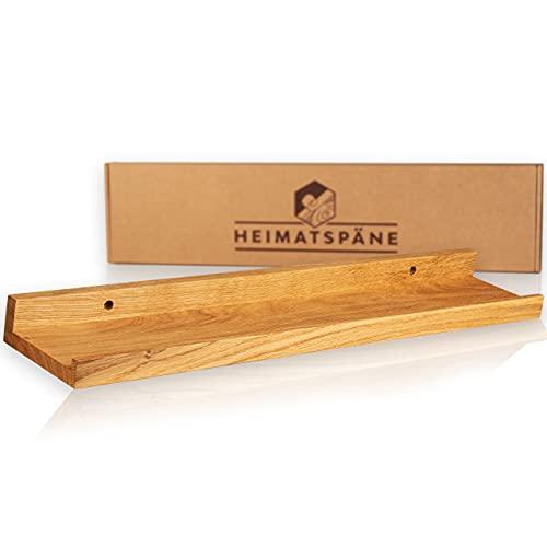 Heimatspäne Bilderleiste Holz 60cm – Echtes Eichenholz, freischwebendes Regalbrett inkl. Schraubenabdeckung aus Echtholz – handgemachtes Wandregal, Holzregal Eiche massiv