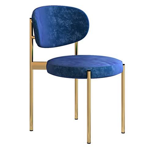 Dining chair Silla de escritorio robusta, simple, respaldo creativo, silla de ocio, estable para el hogar para adultos (color azul)