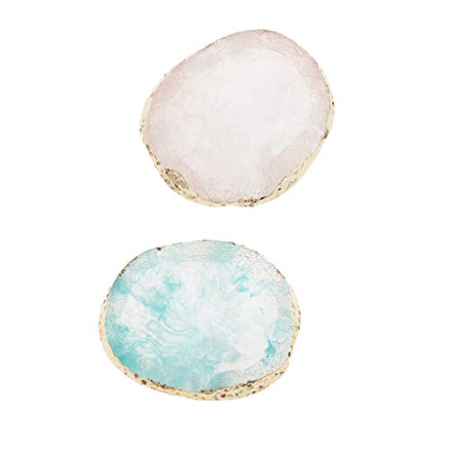 chiwanji 2x Imited Agate Color Mixing Palette Jewelry Display Pad Coaster Cup Mat