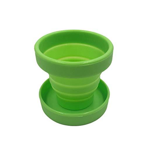 Taza menstrual vaginal y esterilizadora de Lopbinte vasos plegables flexibles para limpiar, taza plegable de camping reciclable para mujeres (verde)