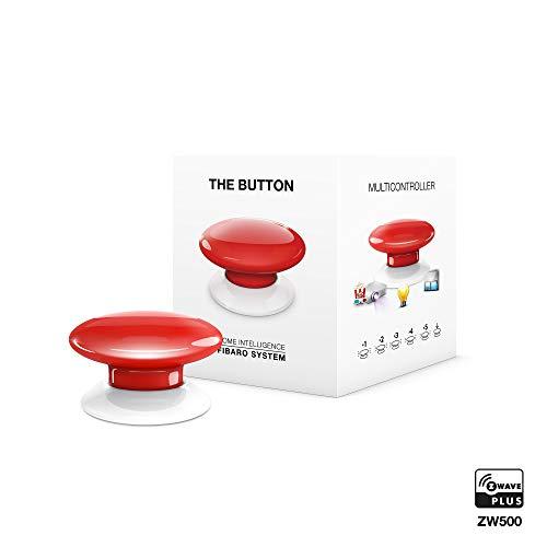 FIBARO The Button Red / Z-Wave Plus Drahtlose Tragbare Schalt-Knopf, Rot, FGPB-101-3