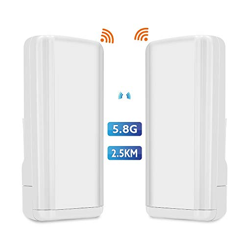 TOMLOV Wireless WiFi Bridge 5.8G 450Mbps Point-to-Point Access Outdoor CPE Kit Long Range Transmitter Supports 2.5KM Transmission Distance with 14 dBi High-Gain Antenna [2-Pack]