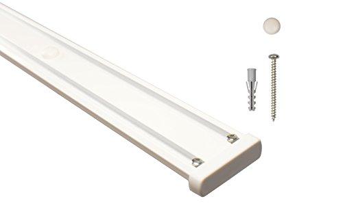 iso-design Gardinenschienen 2 läufig aus Aluminium in weiß - vorgebohrt, 200 cm