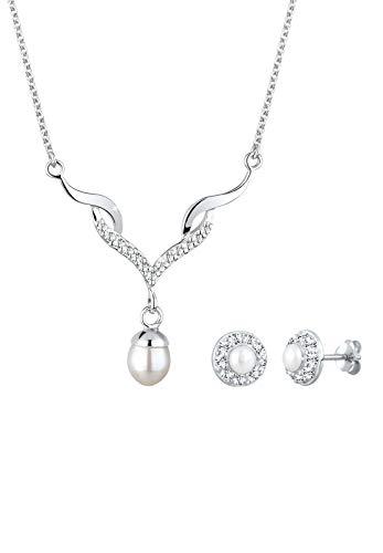 Elli Schmuckset Damen mit Swarovski® Kristallen und Süßwasserperlen in 925 Sterling Silber