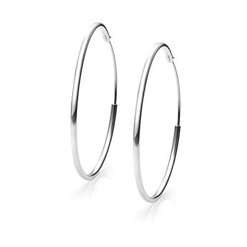 Pendientes Aros Plata Mujer de 14-16- 22-25-30-35-40-50-60-70 y 80 mm. Regalos para tu Novia Originales en Plata de Ley (45 mm)