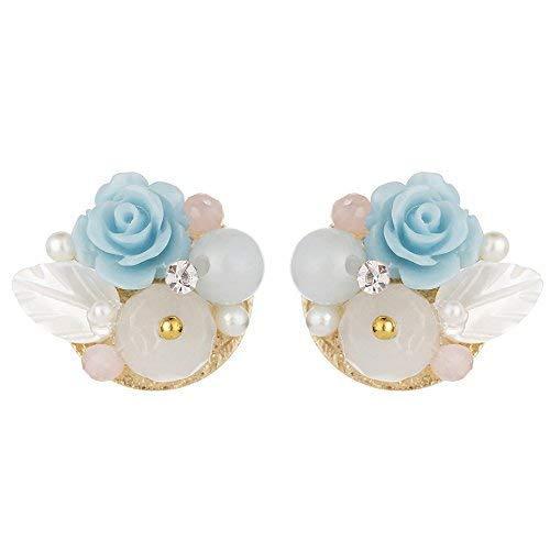Bloemvormige oorschelp is schattig vrouwelijke parel sieraden meisje oorbellen natuurlijke minimalistische stijl lichtblauw, ZS