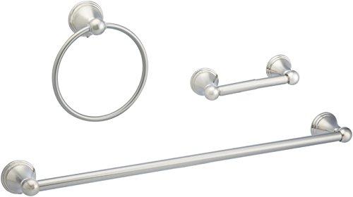 AmazonBasics - Juego de accesorios modernos para baño - 3 unidades - Níquel satinado