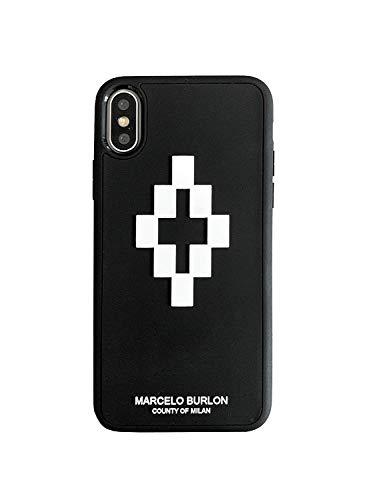 MARCELO BURLON COUNTY OF MILAN Cover/Custodia Compatibile con iPhone XS/X - MOD. 3D Cross - Custodia Burlon Originale - Semi-Rigida - Logo in Rilievo - Protezione Frontale rialzata