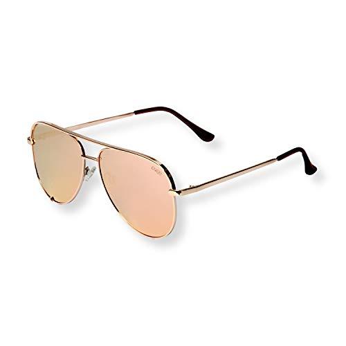 EVEE Fashionable Metal Aviator Sunglasses with Oversize Flat Reflective Mirror Lenses GEMINI Gold 64
