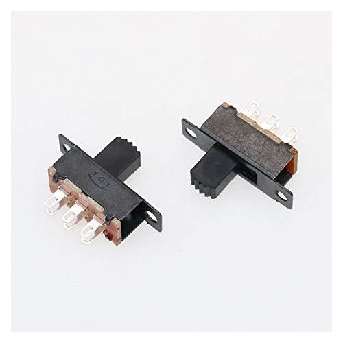 Kfdzsw Interruptores Palanca 2-10pcs 0.5A 50V DC Interruptor de Palanca SS-22F32G7 2 Posición 6 Pernos con Fijo Interruptor Deslizante Agujero DPDT 2P2T de Montaje en Panel (Color : 5 PCS)