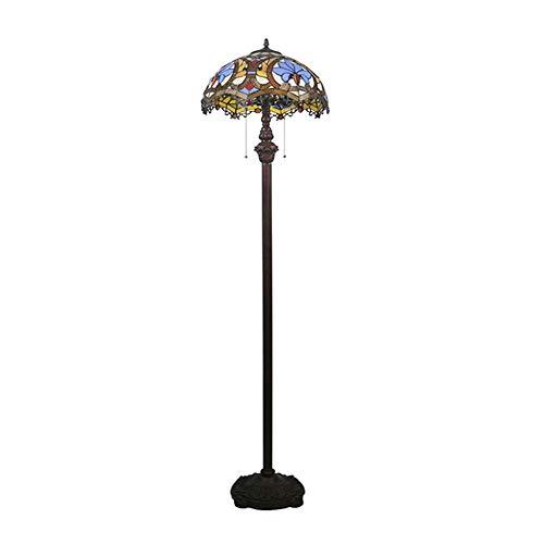 SCAYK 2 Lámpara de pie de Color Barroco/Rosas Ligeras 18'Lámparas de Sombra para dormitorios Lámpara de Noche